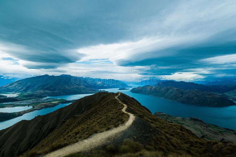 Breathtaking view of the famous Roys Peak in New Zealand. A breathtaking view of the famous Roys Peak in New Zealand stock photography