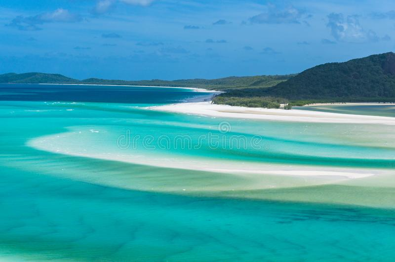 Breathtaking view of isolated Whitsunday island from Hill Inlet lookout. Breathtaking view of isolated Whitsunday island and Whitehaven beach from Hill Inlet royalty free stock images