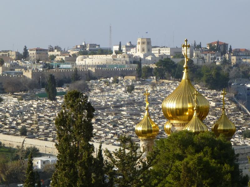 Breathtaking view from Mount of Olives to Jerusalem, Israel stock images