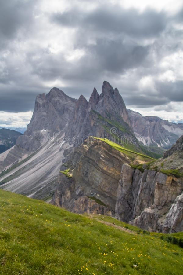 Breathtaking view of Seceda 2,500m Mount Peak royalty free stock photo