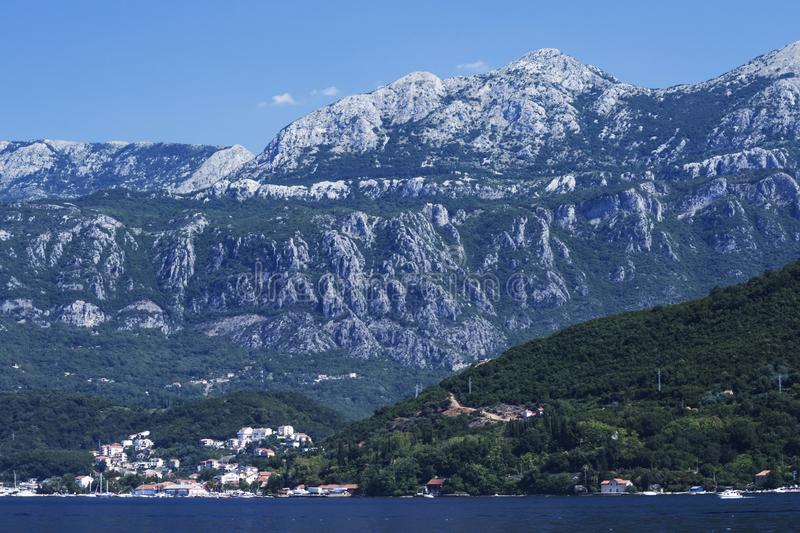 Breathtaking view of the village in the Boko Kotor Bay of the Rocky Mountains and the Adriatic Sea of Montenegro, soft focus.  stock images