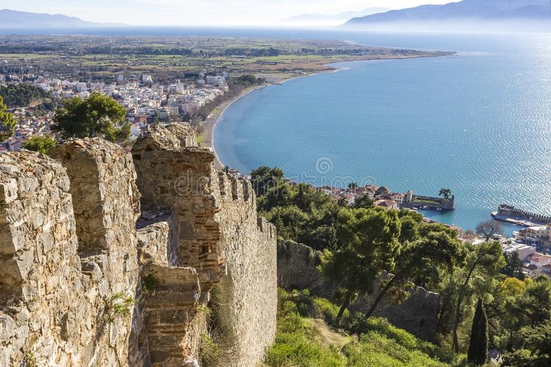 Breathtaking view from the walls of fortress of Nafpaktos, Greece 05 JAN 2018. Breathtaking view from the walls of fortress of Nafpaktos, Greece royalty free stock photos