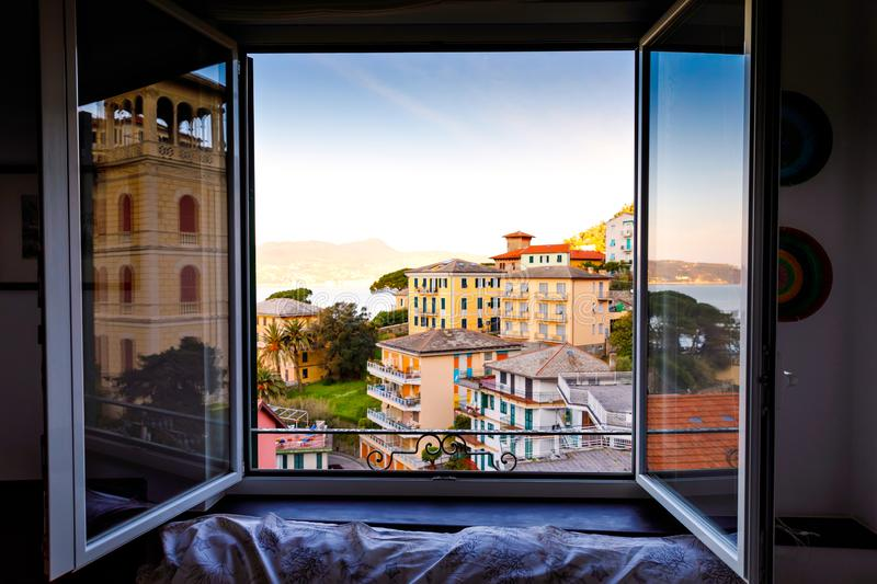 Breathtaking view from window in morning on Liguria region in Italy. Awesome villages of Zoagli, Cinque Terre and royalty free stock image