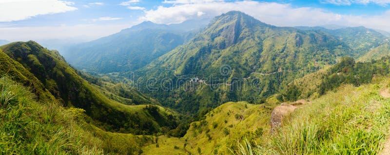 Ella gap views. Breathtaking views over mountains and tea plantations from Little Adams peak in Ella Sri Lanka stock photos