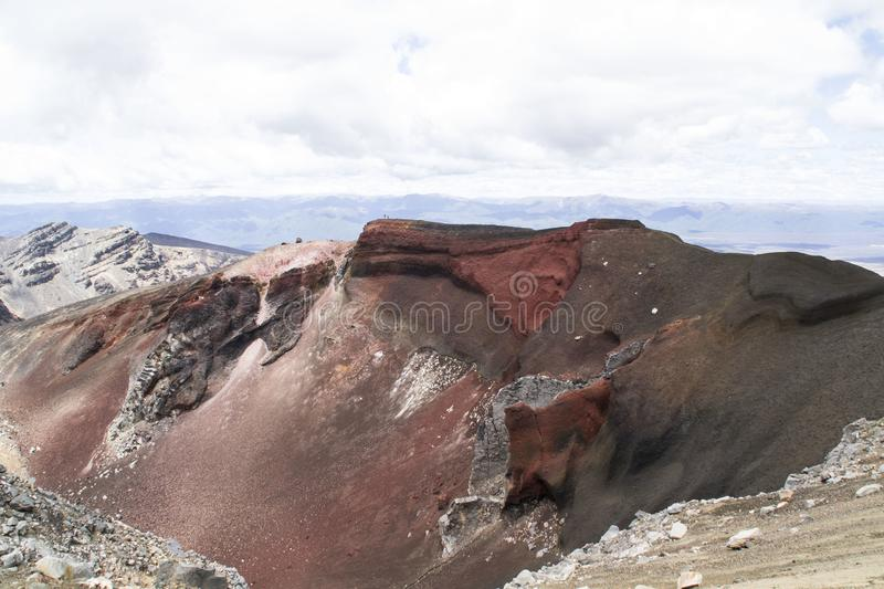 Breathtaking volcanic landscape view on the Red Crater, Tongariro Alpine Crossing. One of the great walks in New Zealand, North Is stock photo