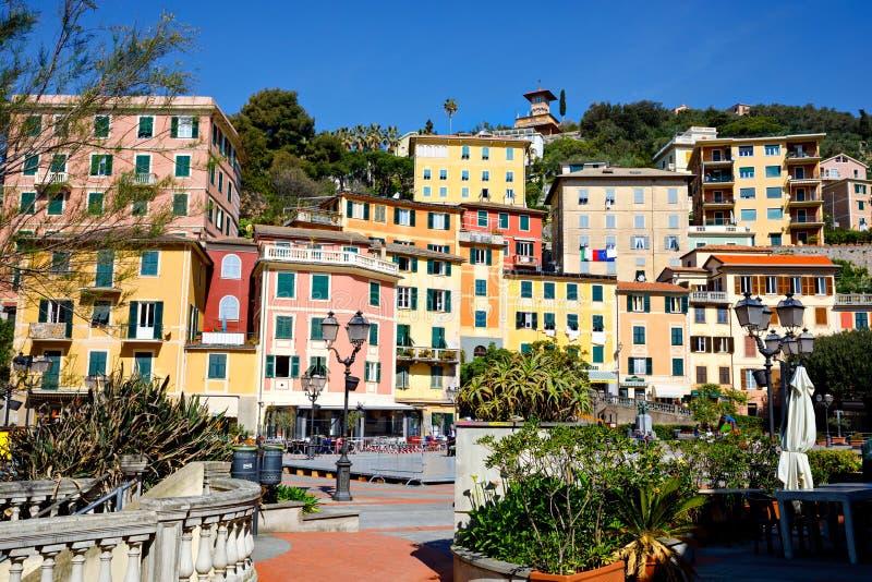 Breathtaking widok Liguria region w Włochy Wspania?e wioski Zoagli, Cinque Terre i Portofino, Piękna włoszczyzna obraz royalty free
