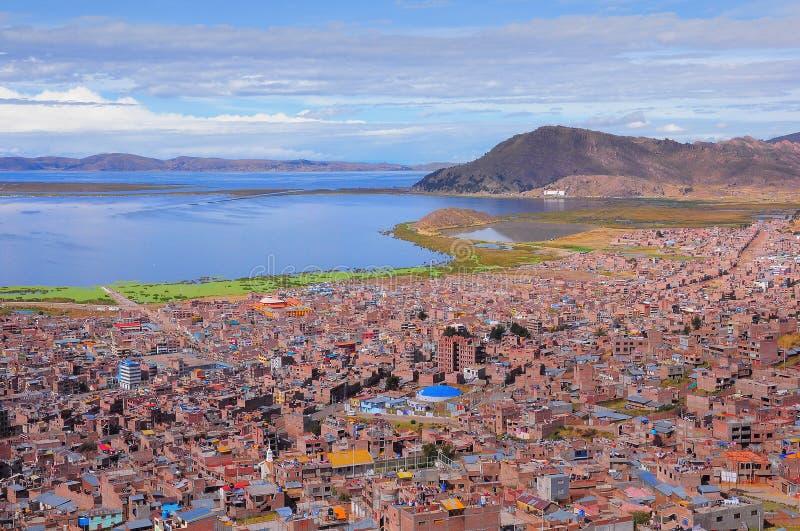 Breathtaking widok Puno Titicaca jeziorem Peru obrazy stock