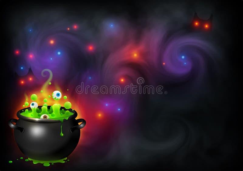 Brebaje del ` s de la bruja de los bolos con los ojos en el contexto mágico de la niebla Fondo de la bandera de Halloween del vec ilustración del vector