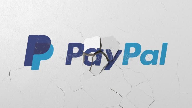 Brechen der Wand mit gemaltem Logo von Paypal Redaktionelle begrifflichwiedergabe 3D der Krise vektor abbildung
