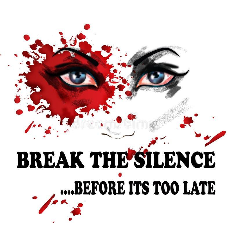 Brechen Sie die Ruhe für Gewalttätigkeit gegen Frauen vektor abbildung