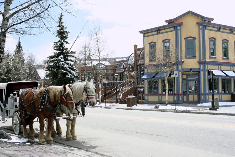 breckenridge中心科罗拉多访客 免版税库存图片