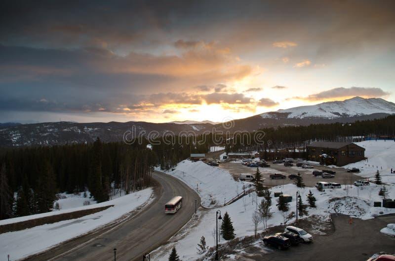 Breckenridge Colorado på skymning arkivfoton