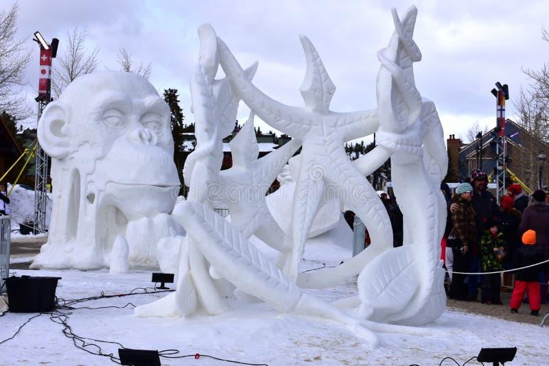 Breckenridge, Colorado, USA: Am 28. Januar 2018: 2018 Team Wisconsin Vogt: ` eine Tanz Devine-` Schnee-Skulptur lizenzfreie stockbilder