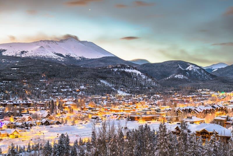Breckenridge, Colorado, USA Town Skyline in Winter. At dawn royalty free stock image