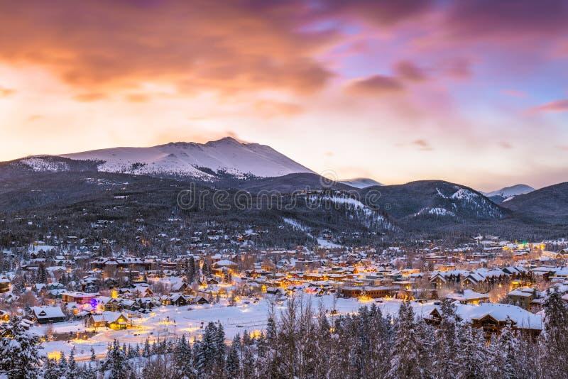 Breckenridge, Colorado, USA Town Skyline in Winter. At dawn stock image