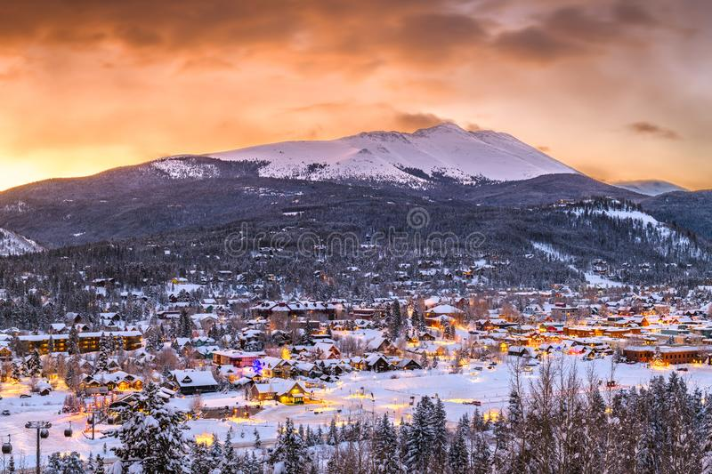 Breckenridge, Colorado, USA Town Skyline in Winter. At dawn royalty free stock images
