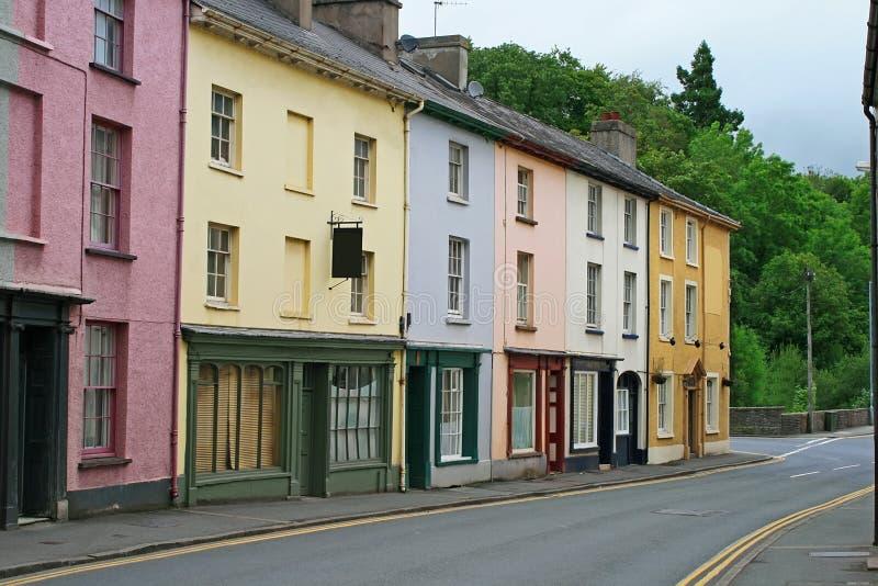 brecon ζωηρόχρωμα σπίτια Ουαλί&alph στοκ εικόνες