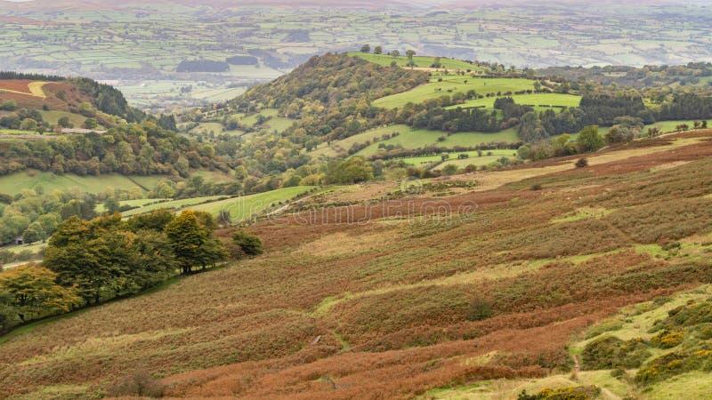 Brecon erleuchtet Ansicht vom Evangelium-Durchlauf, Powys, Wales, Großbritannien stockfotografie