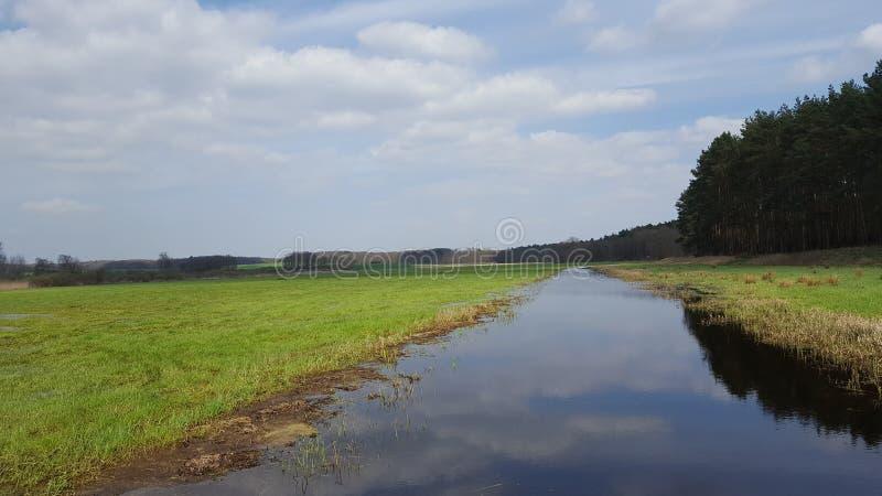 Bred äng med vattenkanalen royaltyfri fotografi