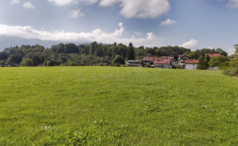 Bred äng nära den alpina byn i Österrike arkivbild
