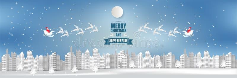Bred bakgrund för stad för vinkelsikt, jul med snöflingan och jultomten, pappers- konststil royaltyfri illustrationer