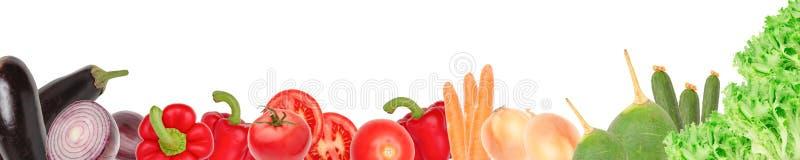 Bred collage av nya grönsaker för orienteringen som isoleras på vit bakgrund kopiera avstånd royaltyfri illustrationer