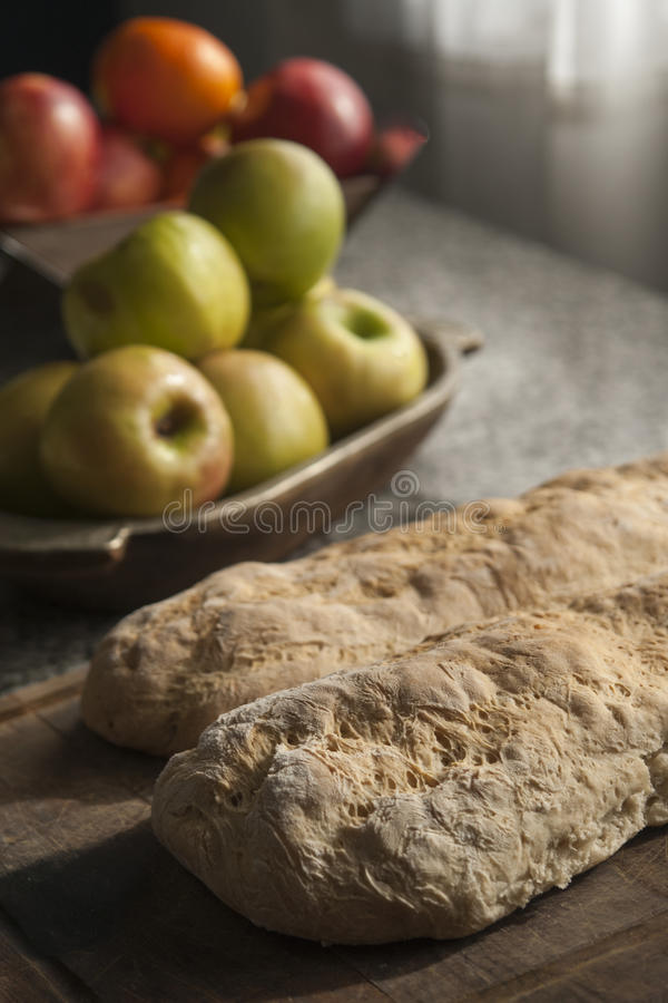 Bred and fruits royalty free stock photo