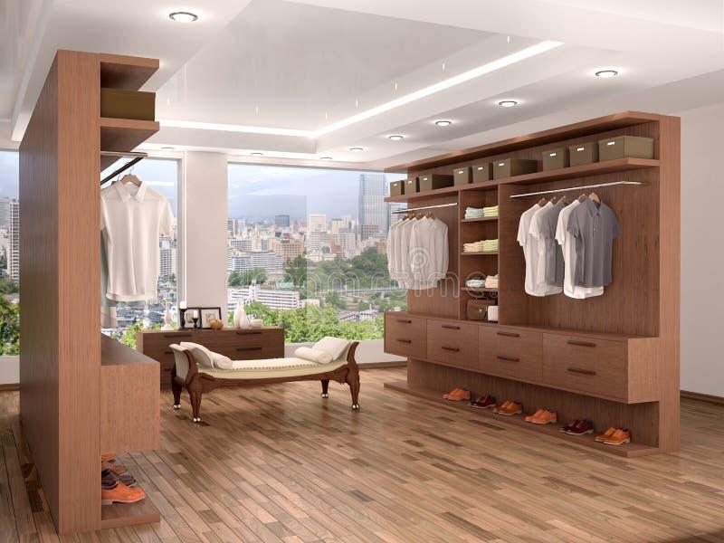 bred garderob med ett stort fönster, royaltyfri illustrationer