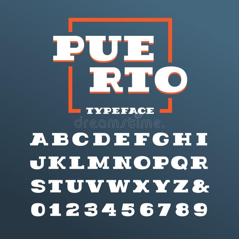 Bred tjock skivaseriffstilsort Vektoralfabet med latinska bokstäver och numeriskt stock illustrationer
