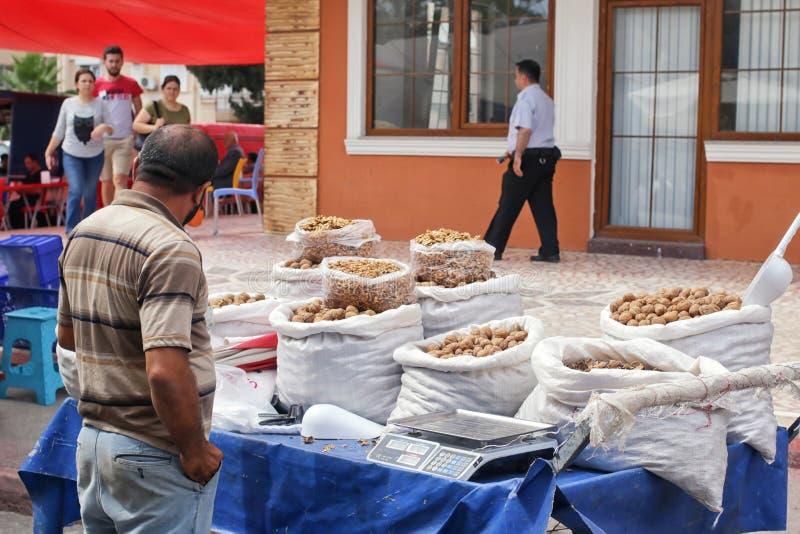 Bred variation av kryddor, muttrar och torkade frukter på hyllorna av lokala affärsmän för gatamarknad fotografering för bildbyråer