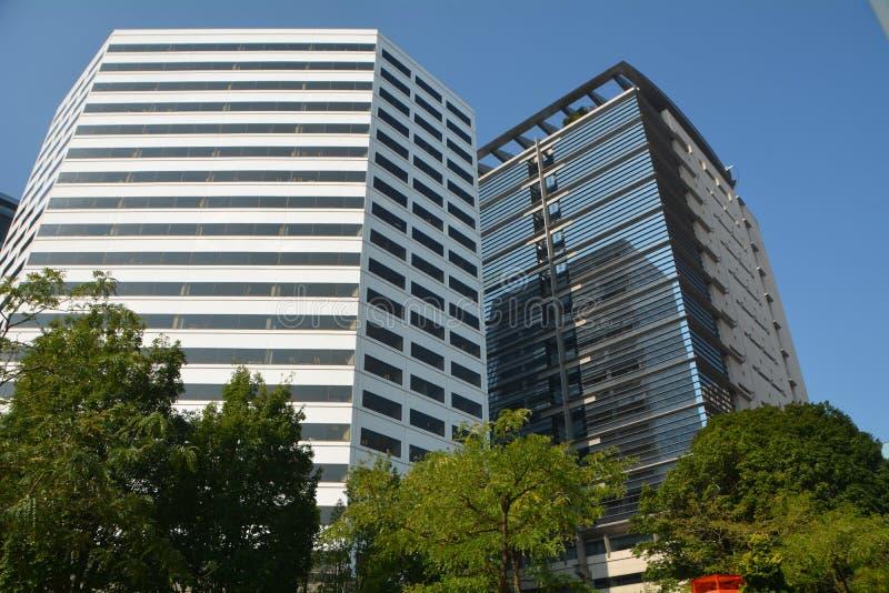 Bred vinkel för kontorsbyggnader med träd i Portland, Oregon fotografering för bildbyråer