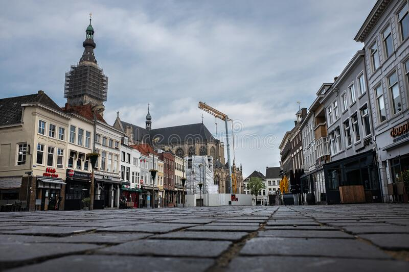 Empty center of Breda city, The Netherlands. BREDA -2 APRIL: view of empty street on 2 April 2020 in Breda, The Netherlands due to the coronavirus outbreak stock photo