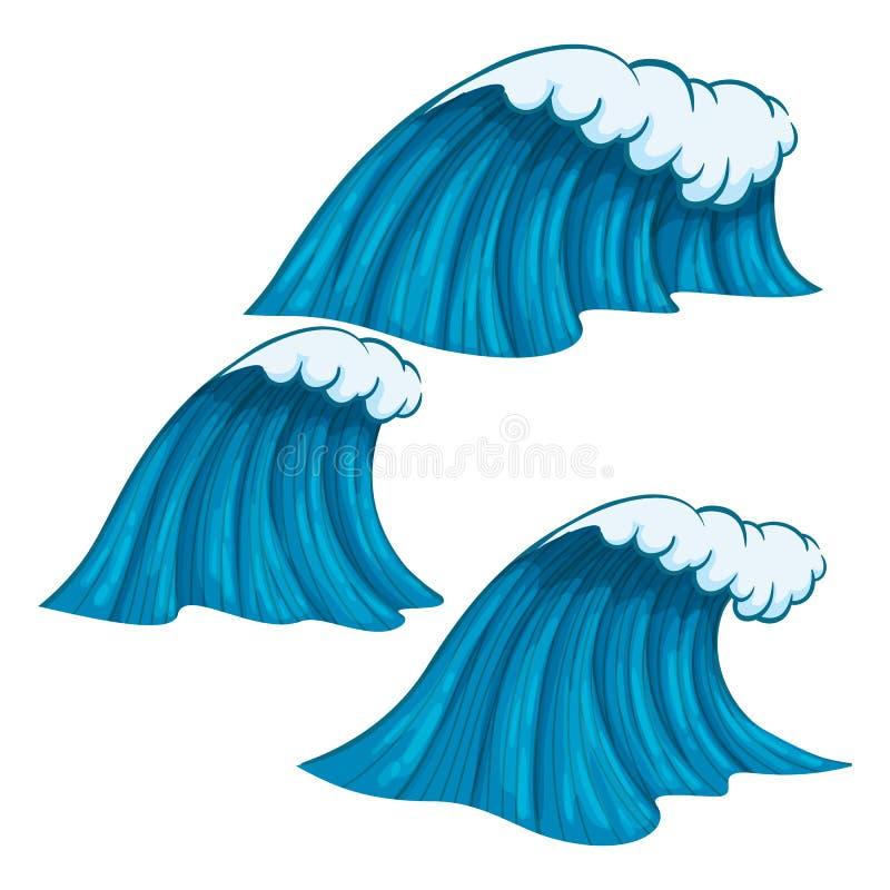 Breda och smala färgrika vågor med översikten som isoleras på vit bakgrund royaltyfri illustrationer