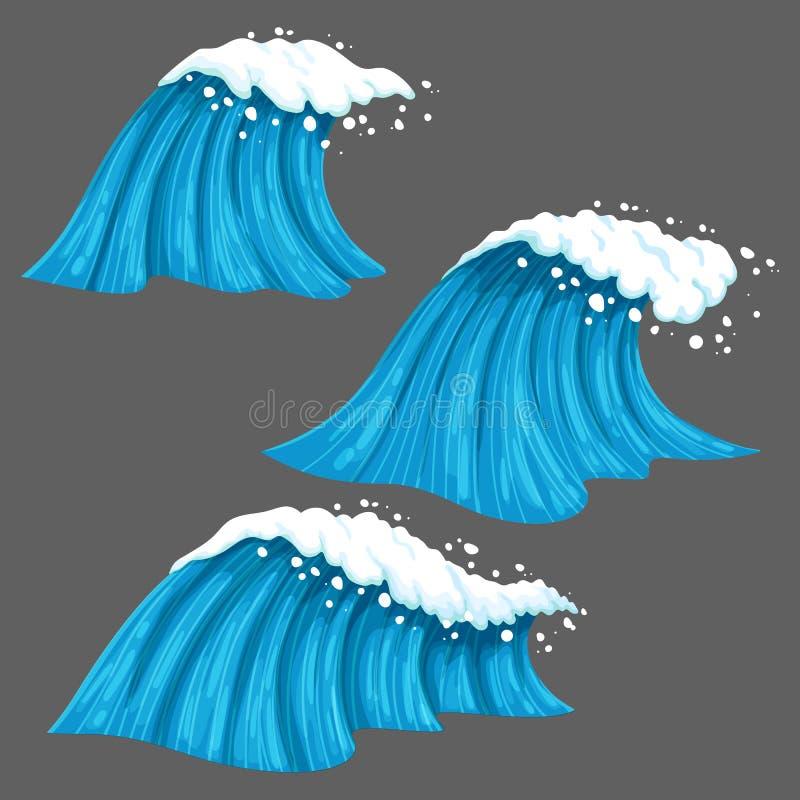 Breda och smala färgrika vågor med isolerat på grå bakgrund royaltyfri illustrationer