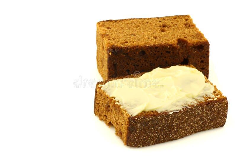 bredd smör på traditionell cakeholländare royaltyfri fotografi