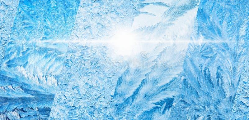 Brede blauwe de winterachtergrond, collage van bevroren ijzige vensters royalty-vrije illustratie