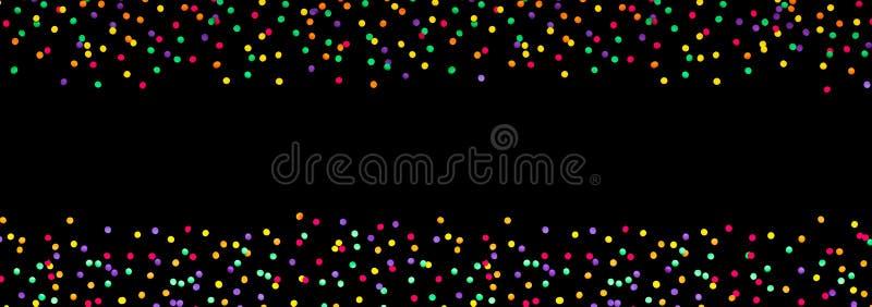 Brede de partijachtergrond van de Hoekvakantie met multicolored confettien stock illustratie