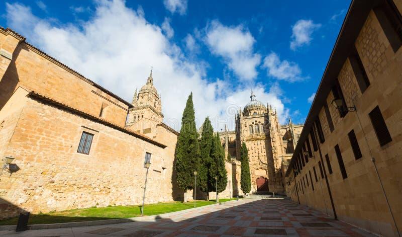 Brede die hoek van Kathedraal van Salamanca wordt geschoten stock foto
