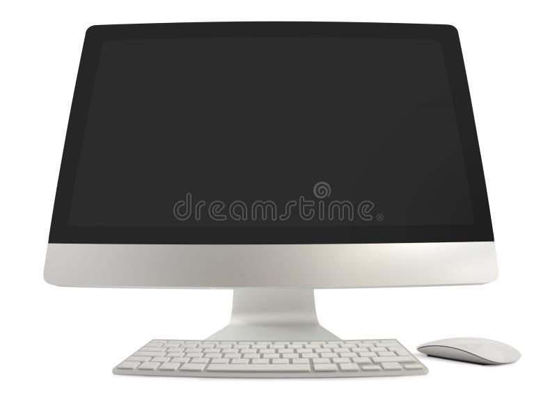 Brede Hoekige Computer met Toetsenbord en Muis stock afbeeldingen
