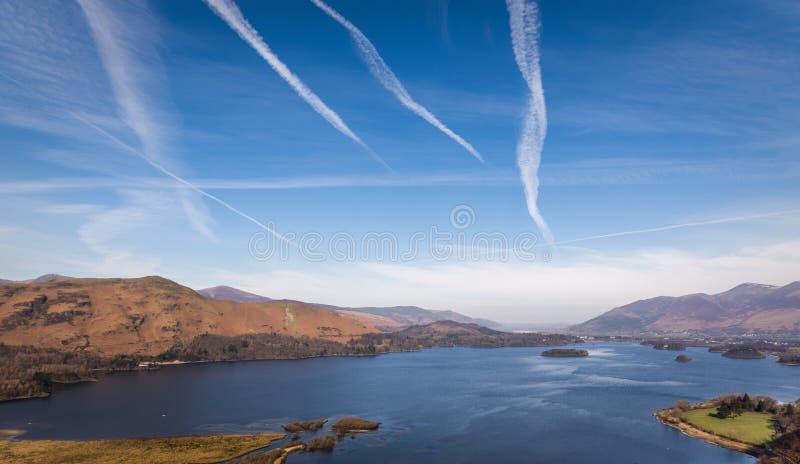 Brede Hoekmening bij Derwentwater-Meer in het Meerdistrict, het UK stock fotografie