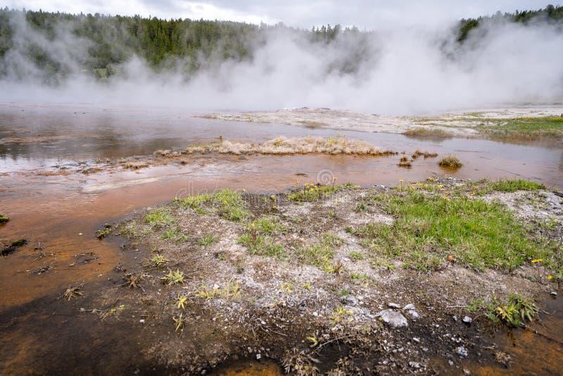 Brede hoekmening van een hete de lente thermische eigenschap binnen van het Nationale Park van Yellowstone stock fotografie
