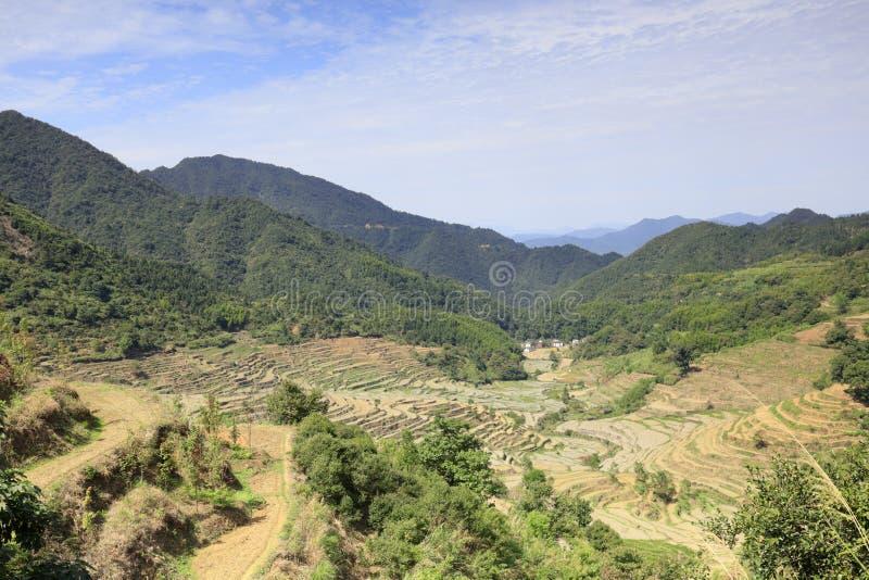 Brede keurige terrassen bij het huangling van berg, rgb adobe royalty-vrije stock foto