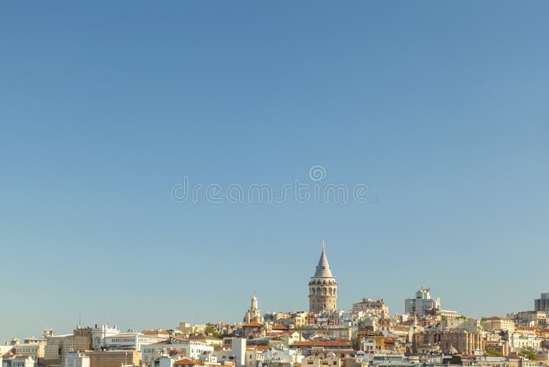 Brede mening van Galata-Toren Istanboel stock foto