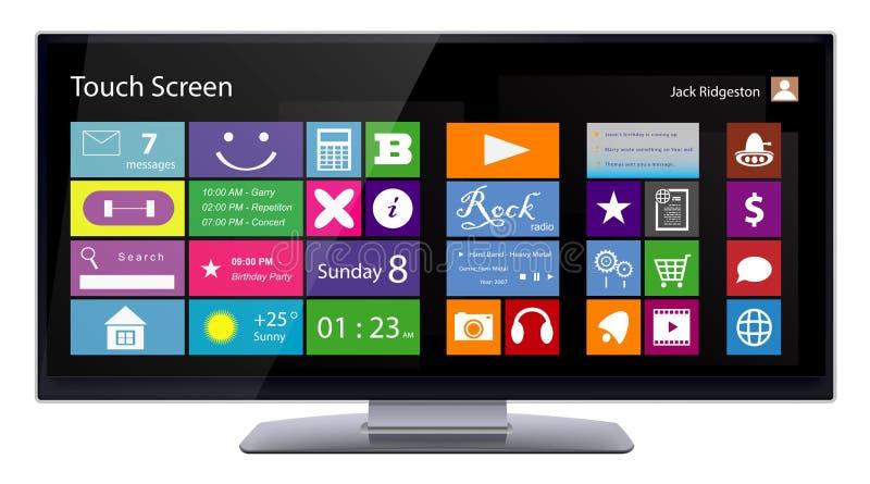 Brede TouchScreen Monitor met Metro interface vector illustratie