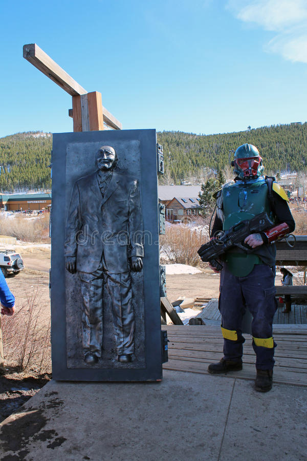 Bredo Morstol Sculpture - Frozen Dead Guy Days. Nederland, Colorado's Frozen Dead Guy Days is known as one of the most unique and quirky festivals in the royalty free stock photo