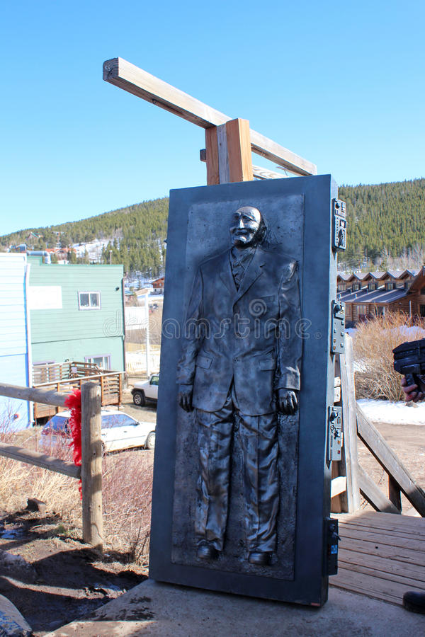Bredo Morstol Sculpture - Frozen Dead Guy Days. Nederland, Colorado's Frozen Dead Guy Days is known as one of the most unique and quirky festivals in the royalty free stock images
