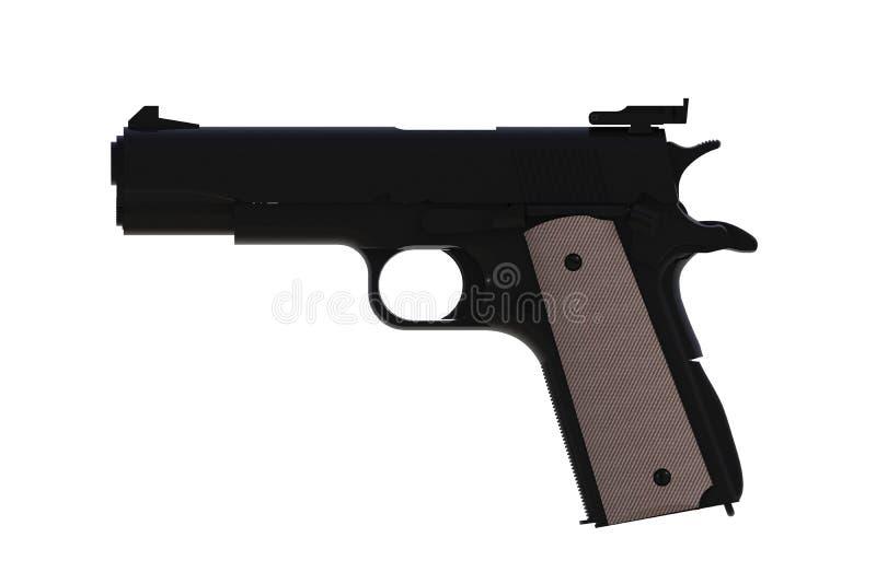 Bredvid sikt av halvautomatisk svart M1911 pistol för 45 kaliber som isoleras på vit bakgrund stock illustrationer