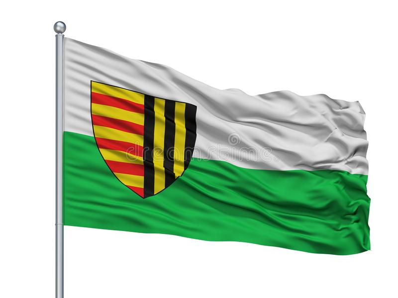 Bree City Flag On Flagpole, Bélgica, aislada en el fondo blanco stock de ilustración