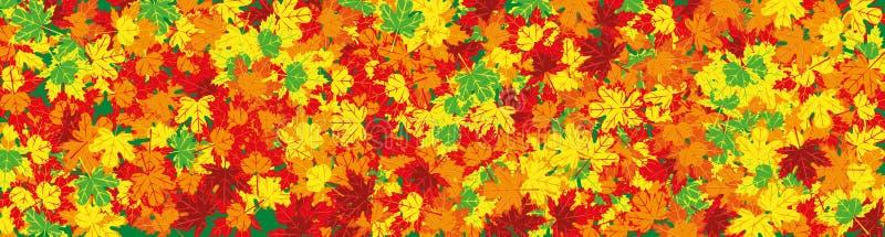 Breed beeld aan de herfstthema met gevallen bladeren stock illustratie