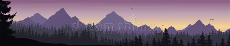 Breed berglandschap met bos en vliegende vogels onder m royalty-vrije illustratie